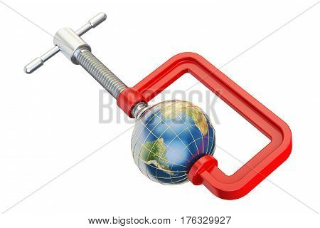 Globe Earth in clamp 3D rendering isolated on white background