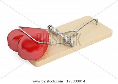 Mousetrap heart trapped 3D rendering isolated on white background