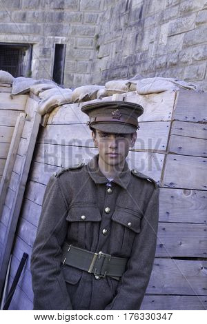 Halifax, Nova Scotia, September 23, 2015 -- A guide dressed in a First World War uniform poses at the Citadel in Halifax, Nova Scotia, on a bright sunny day in September