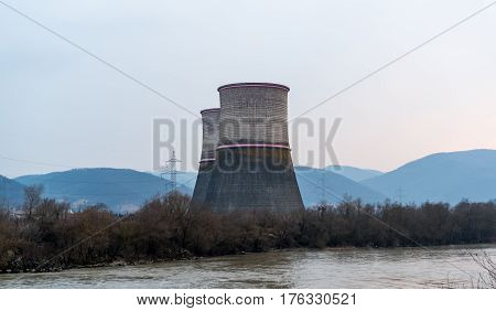 Cooling towers of thermal power plant near the river