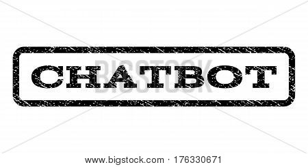 Chatbot watermark stamp. Text tag inside rounded rectangle frame with grunge design style. Rubber seal stamp with unclean texture. Vector black ink imprint on a white background.