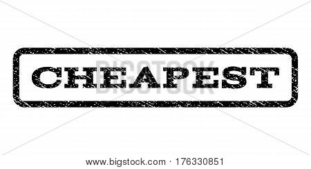 Cheapest watermark stamp. Text tag inside rounded rectangle with grunge design style. Rubber seal stamp with scratched texture. Vector black ink imprint on a white background.