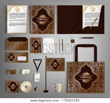 Luxurious corporate identity template with golden element and floral pattern. Vector company style for brandbook and guideline. Business stationery