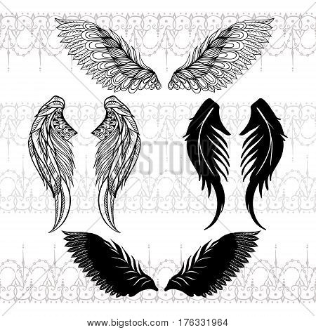 Four Sketches Of Wings