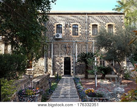 TIBERIAS ISRAEL - FEBRUARY 26 2017: Facade of the Scottish Church of St. Andrew in Tiberias