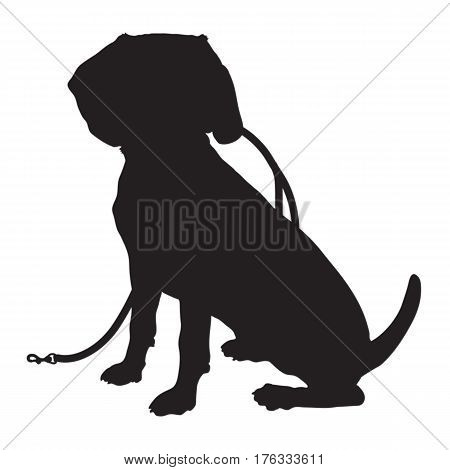 A black silhouette of a sitting Beagle puppy with a leash in its mouth