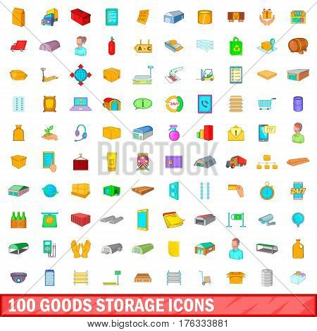 100 goods storage icons set in cartoon style for any design vector illustration