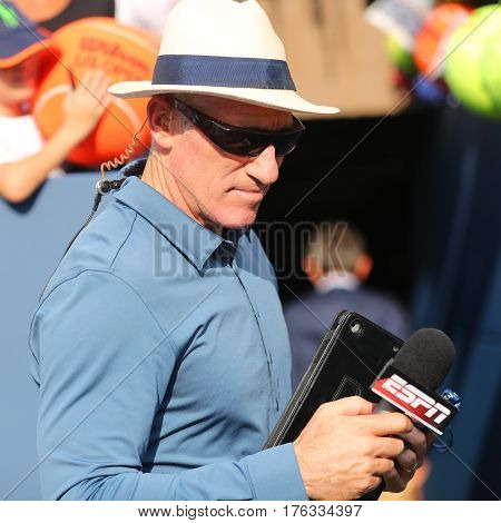 NEW YORK - SEPTEMBER 3, 2016: ESPN analyst Brad Gilbert comments tennis match at US Open 2016 at Billie Jean King National Tennis Center New York