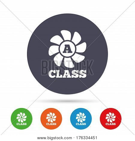 A-class ventilation icon. Energy efficiency sign symbol. Round colourful buttons with flat icons. Vector