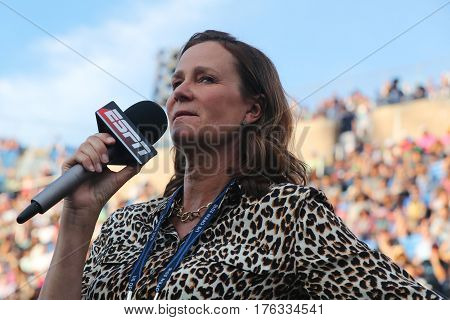 NEW YORK - SEPTEMBER 5, 2016: ESPN analyst Pam Shriver comments tennis match at US Open 2016 at Billie Jean King National Tennis Center New York