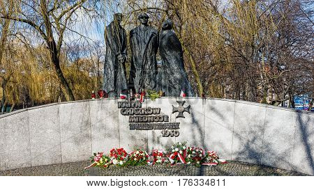 KATOWICE, POLAND - MARCH 13, 2017:Monument to the Victims of Katyn, unveiled on May 24, 2001, commemorating the Polish army officers assassinated by the Soviet NKVD during World War II.