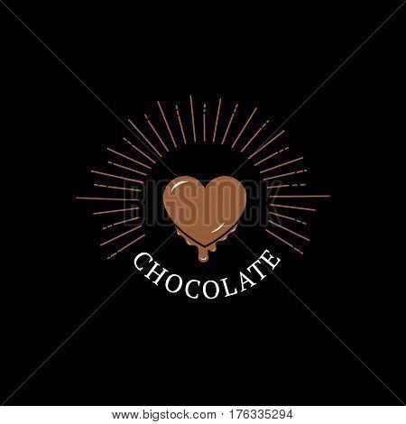 Chocolate logo, label, badge or emblem with heart. Vintage retro style. Isolated on black background. Vector illustration.
