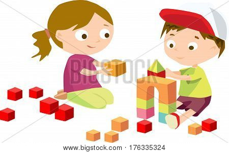 The boy and girl are sitting and playing with toys.