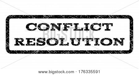 Conflict Resolution watermark stamp. Text caption inside rounded rectangle with grunge design style. Rubber seal stamp with scratched texture. Vector black ink imprint on a white background.