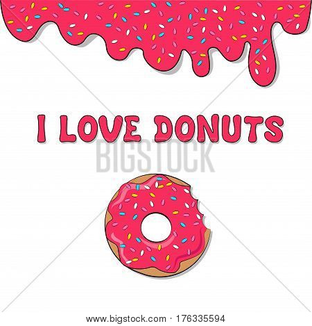 Vector donut picture for T-shirt, print donut with pink frosting,