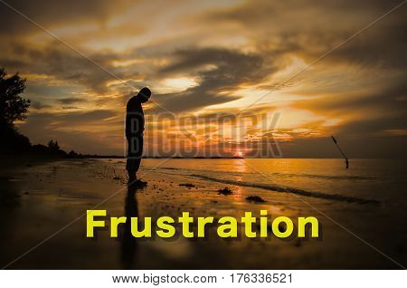 Creative conceptual,Frustration word on photo with man alone on the beach during sunset.Calm sea with rippling waves.