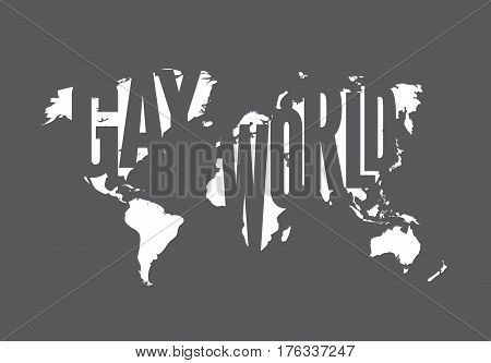 World gay map with grey white background. Homosexual illustration. Equality flag with outline contour of globe vector concept.Tolerance bisexual lifestyle