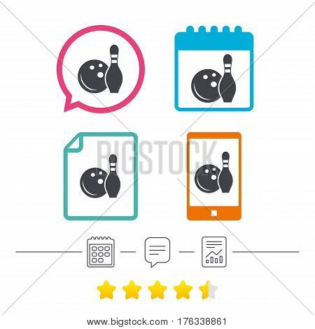 Bowling game sign icon. Ball with pin skittle symbol. Calendar, chat speech bubble and report linear icons. Star vote ranking. Vector