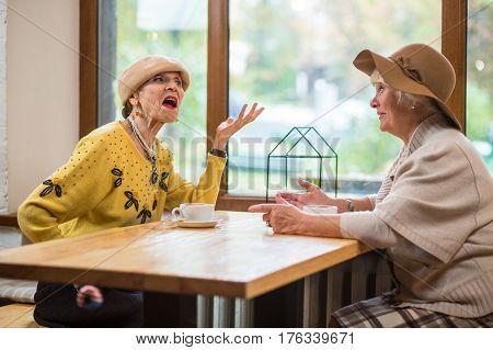 Senior ladies at cafe table. Women talking near window. The proud speech.