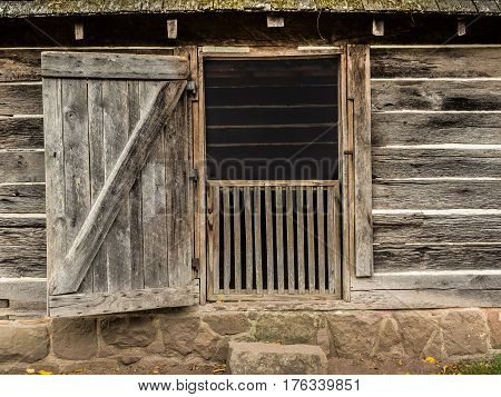 Open door on historic smokehouse in Virginia