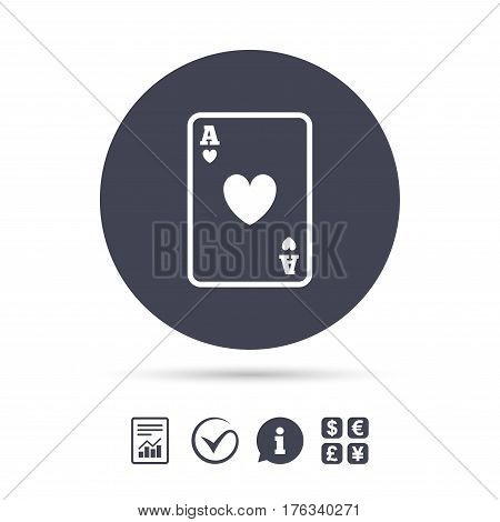 Casino sign icon. Playing card symbol. Ace of hearts. Report document, information and check tick icons. Currency exchange. Vector