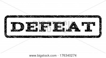 Defeat watermark stamp. Text tag inside rounded rectangle frame with grunge design style. Rubber seal stamp with dirty texture. Vector black ink imprint on a white background.