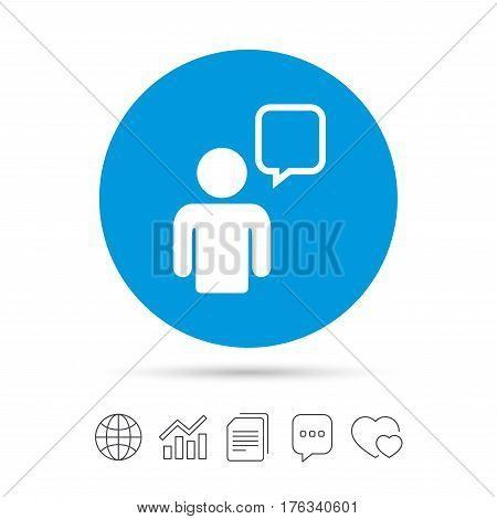 Chat sign icon. Speech bubble symbol. Chat bubble with human. Copy files, chat speech bubble and chart web icons. Vector