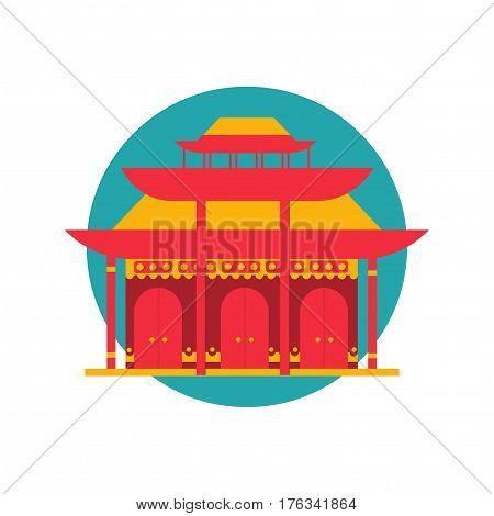 East asian building icon. Could be used as a shinto shrine flat style icon or Chinese red chamber symbol. Japanese temple.