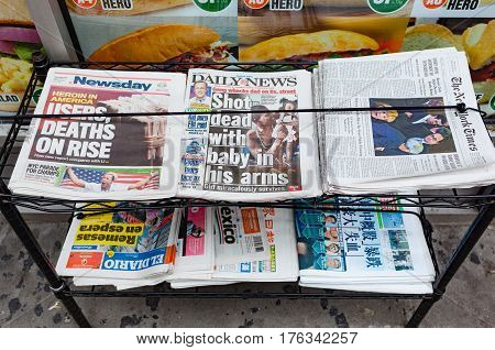 Various Newspapers For Sale In The Street In Manhattan.