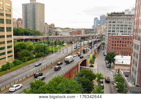 Rooklyn Queens Expy Street (i-278) In New York.