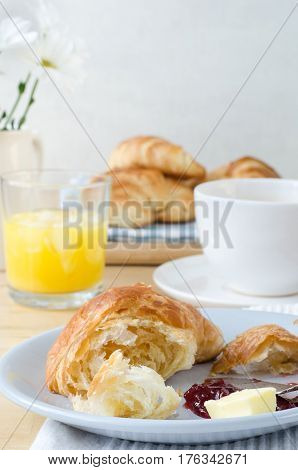 Serving Of Croissant At A Continental Breakfast Table