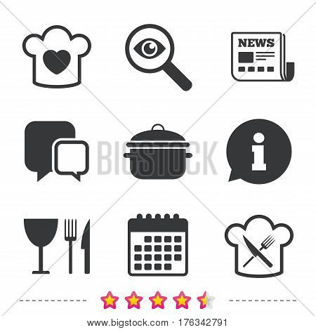 Chief hat with heart and cooking pan icons. Crosswise fork and knife signs. Boil or stew food symbol. Newspaper, information and calendar icons. Investigate magnifier, chat symbol. Vector