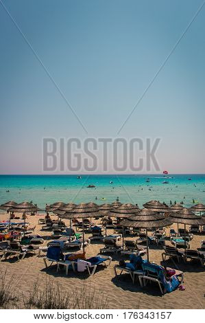 A view of a azzure water and Nissi beach in Aiya Napa Cyprus