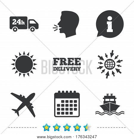 Cargo truck and shipping icons. Shipping and free delivery signs. Transport symbols. 24h service. Information, go to web and calendar icons. Sun and loud speak symbol. Vector