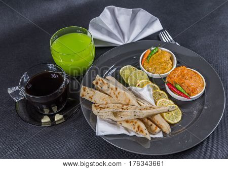 Oriental Indian Set, Chicken Korma, Chicken Tikka Masala, Naan Bread, Limes And Lemons, Gray Plate,