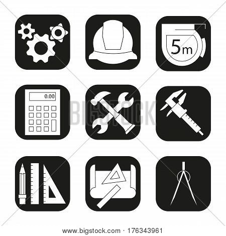 Engineering icons set. Drawing, gears, helmet, caliper, divider, hammer and wrench, measuring tape, calculator, pencil with rulers symbol. Vector white silhouettes illustrations in black squares