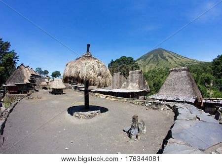 Bena Village, ancient settlement near Inerie volcano, Bajawa, Flores, Indonesia