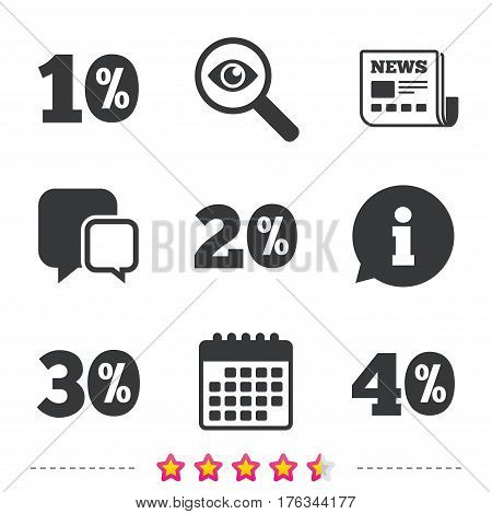 Sale discount icons. Special offer price signs. 10, 20, 30 and 40 percent off reduction symbols. Newspaper, information and calendar icons. Investigate magnifier, chat symbol. Vector