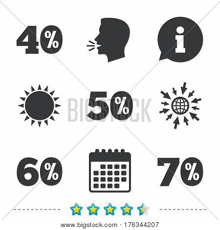 Sale discount icons. Special offer price signs. 40, 50, 60 and 70 percent off reduction symbols. Information, go to web and calendar icons. Sun and loud speak symbol. Vector