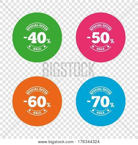 Sale discount icons. Special offer stamp price signs. 40, 50, 60 and 70 percent off reduction symbols. Round buttons on transparent background. Vector