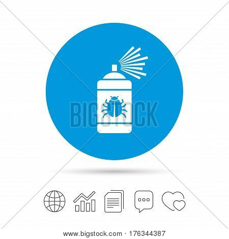 Bug disinfection sign icon. Fumigation symbol. Bug sprayer. Copy files, chat speech bubble and chart web icons. Vector