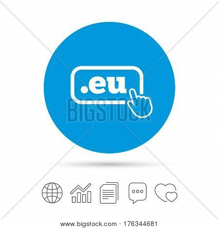 Domain EU sign icon. Top-level internet domain symbol with hand pointer. Copy files, chat speech bubble and chart web icons. Vector