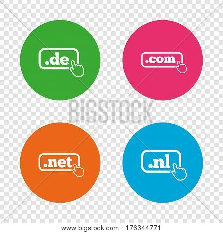 Top-level internet domain icons. De, Com, Net and Nl symbols with hand pointer. Unique national DNS names. Round buttons on transparent background. Vector