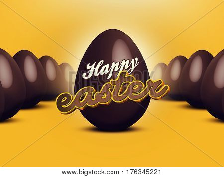 Abstract Illustration of chocolate easter eggs with 3d Happy Easter text