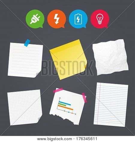 Business paper banners with notes. Electric plug icon. Lamp bulb and battery symbols. Low electricity and idea signs. Sticky colorful tape. Speech bubbles with icons. Vector
