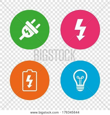 Electric plug icon. Lamp bulb and battery symbols. Low electricity and idea signs. Round buttons on transparent background. Vector