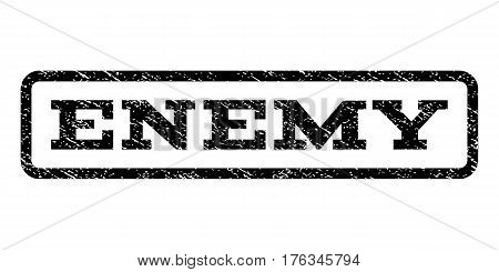 Enemy watermark stamp. Text tag inside rounded rectangle with grunge design style. Rubber seal stamp with dirty texture. Vector black ink imprint on a white background.