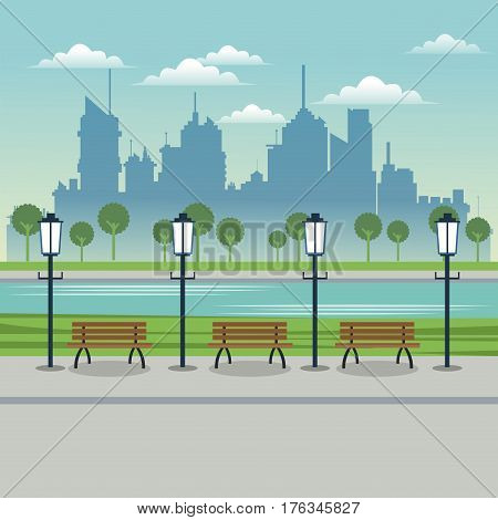 city space post lamp bench urban background vector illustration eps 10