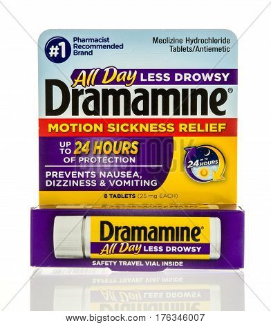 Winneconne WI - 22 February 2017: Package of Dramamine motion sickness relief on an isolated background.