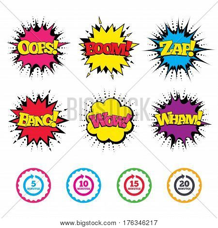 Comic Wow, Oops, Boom and Wham sound effects. Every 5, 10, 15 and 20 minutes icons. Full rotation arrow symbols. Iterative process signs. Zap speech bubbles in pop art. Vector